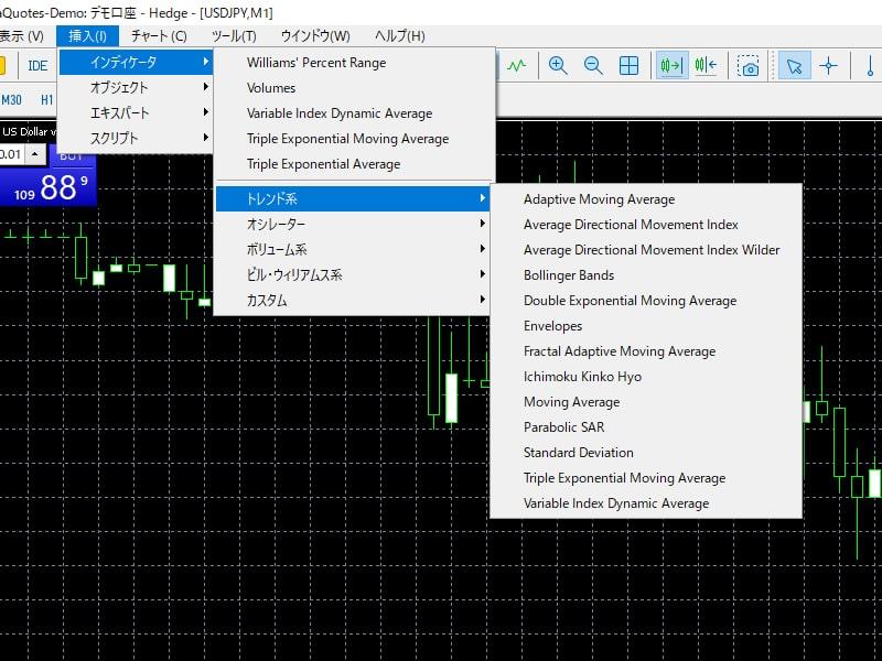 MT5での移動平均線の表示方法01